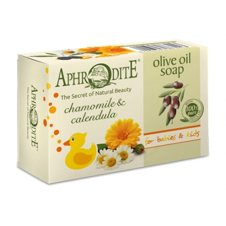 APHRODITE Olive oil soap with Chamomile & Calendula for Babies & Kids (Z-80)