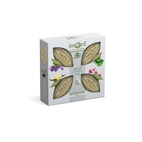 APHRODITE 4 Olive Oil & Donkey Milk Soaps Gift Set (D-4A)